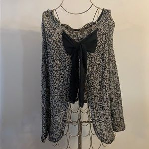 Charlotte Russe open bow back blouse size S